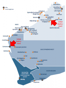 Locations of Horizon Power's new prepayment deployments in Western Australia